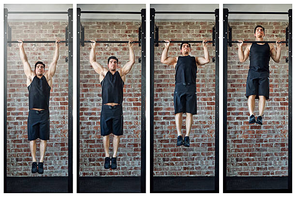 Man pictured in different phases of a pull-up