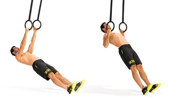 Man doing inverted rows, a variation of the pull-up