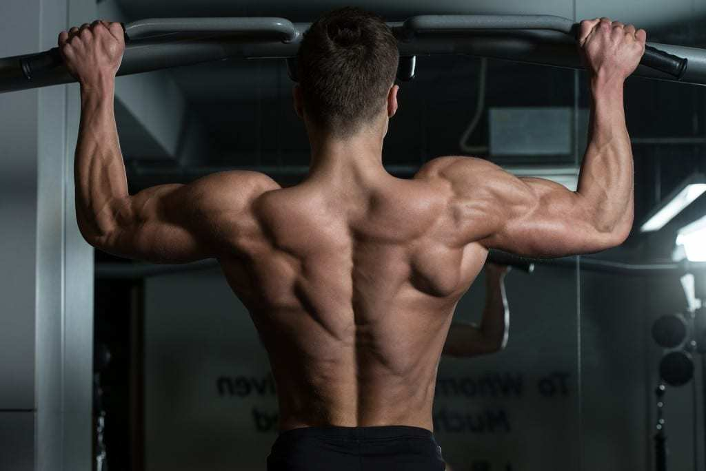 Picture of a shirtless man doing pull-ups as part of his back workout