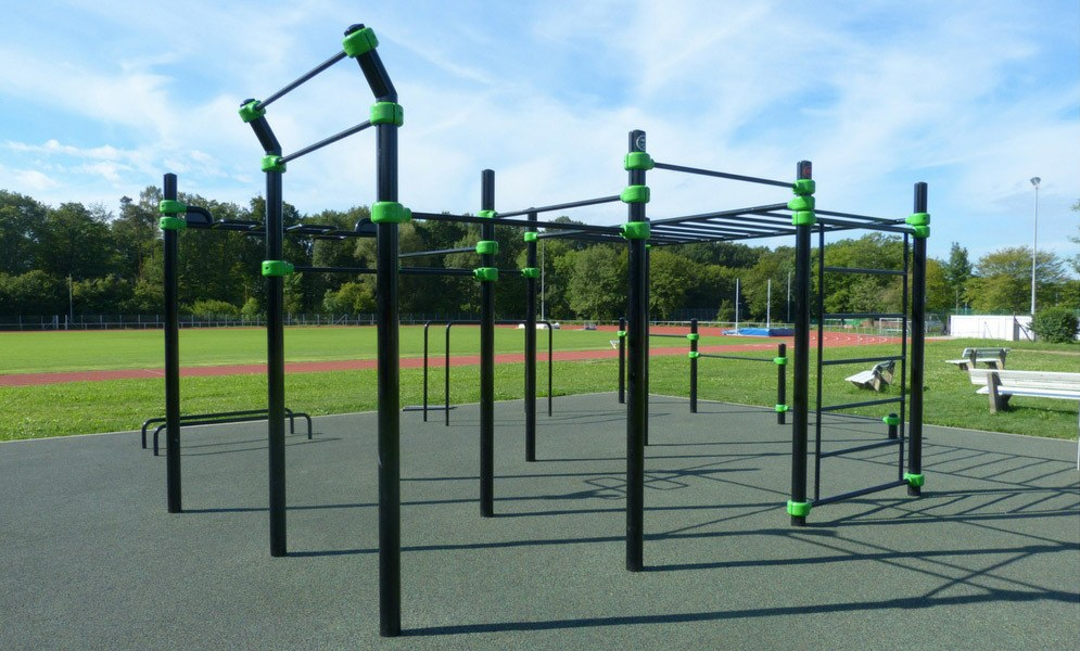 Picture of a park with calisthenics equipment