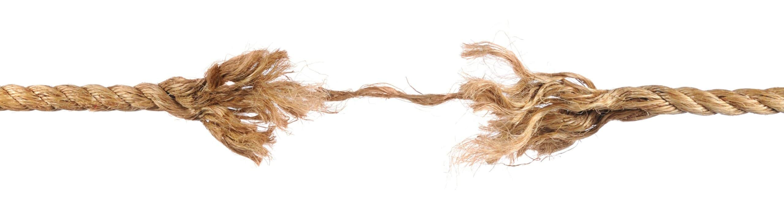 Picture of a frayed rope, in this article signifying the weak link that prevents people in doing their first push-up