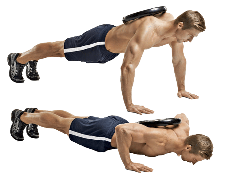 Man doing weighted push-ups with a plate on his back