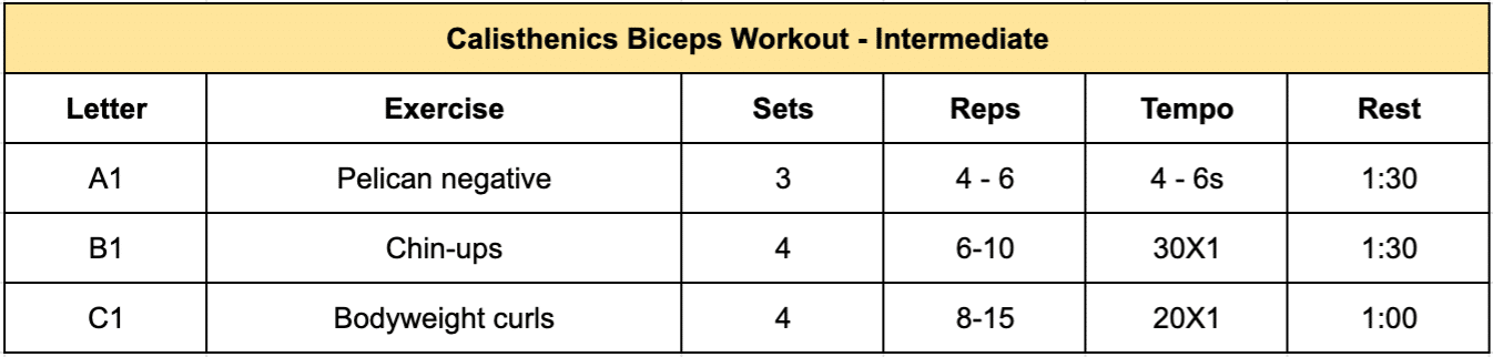 A table presenting an intermediate calisthenics workout for biceps, a progression from the beginner table above