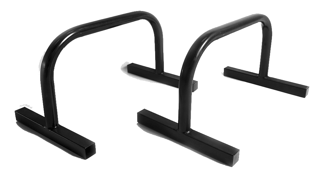 Image of two black parallettes made of metal
