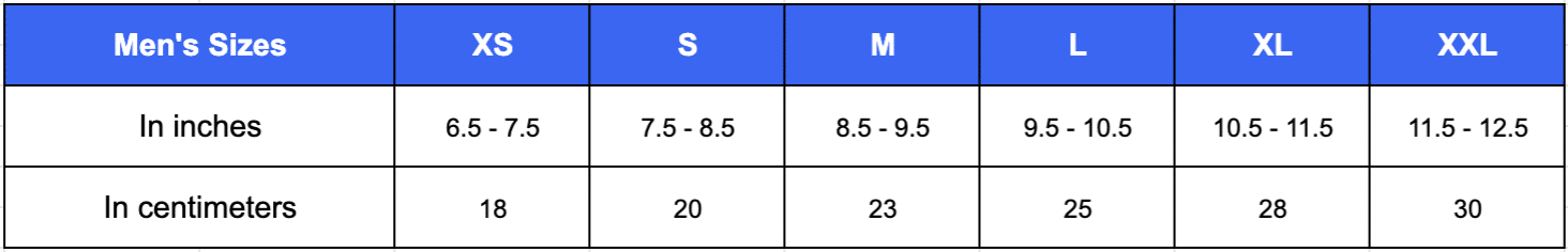 Table showing the right sizing for men when choosing their calisthenics gloves