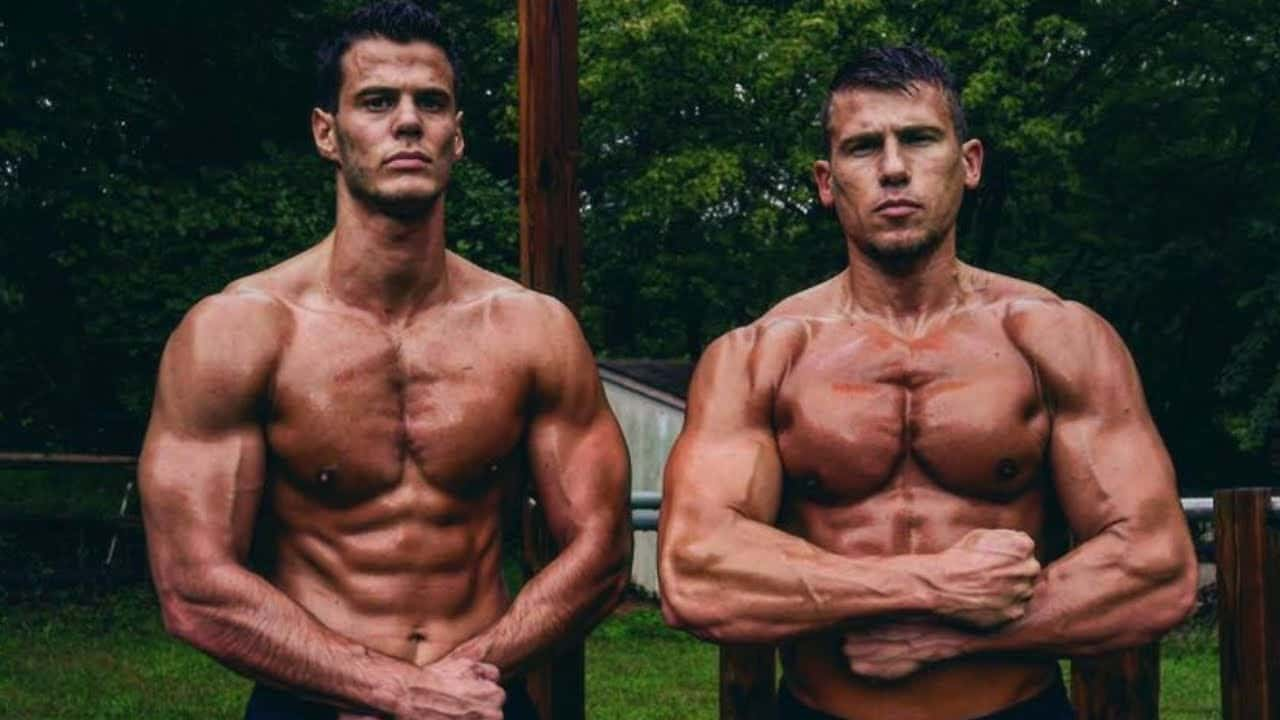 Picture of Lazar and Dusan from Bar Brothers, flexing their muscles