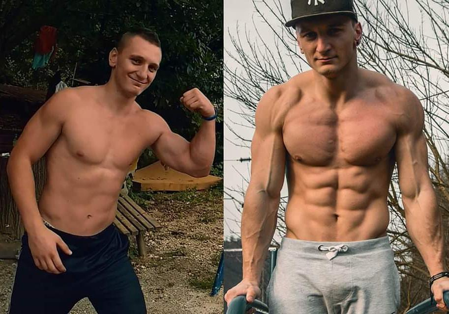 Before and after pictures of Enes Selimovic's calisthenics transformation