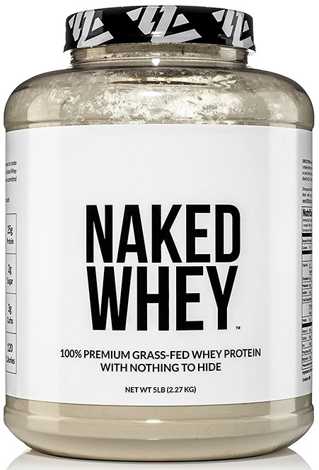 Tub of grass-fed whey protein isolate from Naked