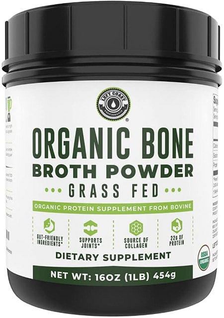 Organic Bone Broth Protein Powder Without Artificial Sweeteners from grass-fed cattle